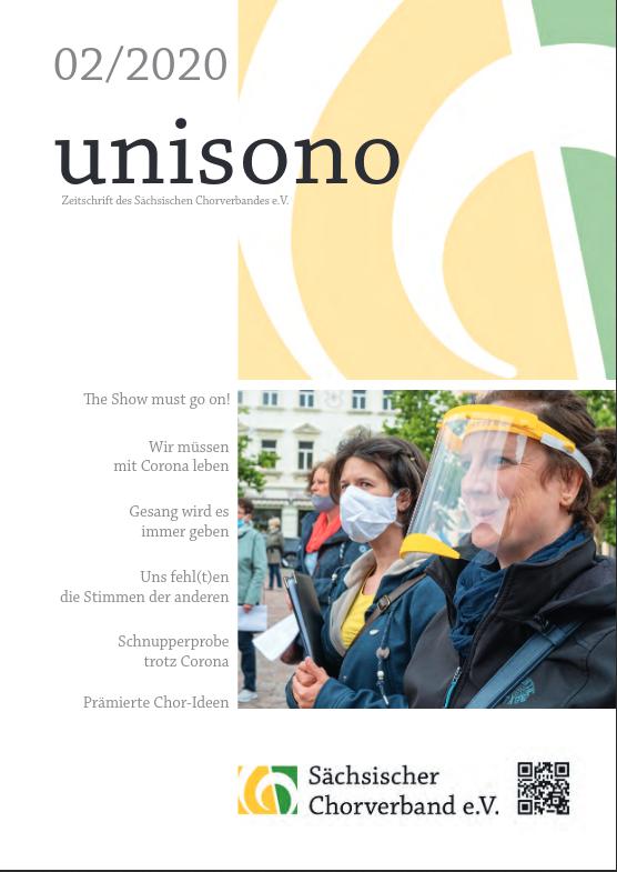 Titelseite unisono 2/2020 mit Link zum Sächsischen Chorverband.