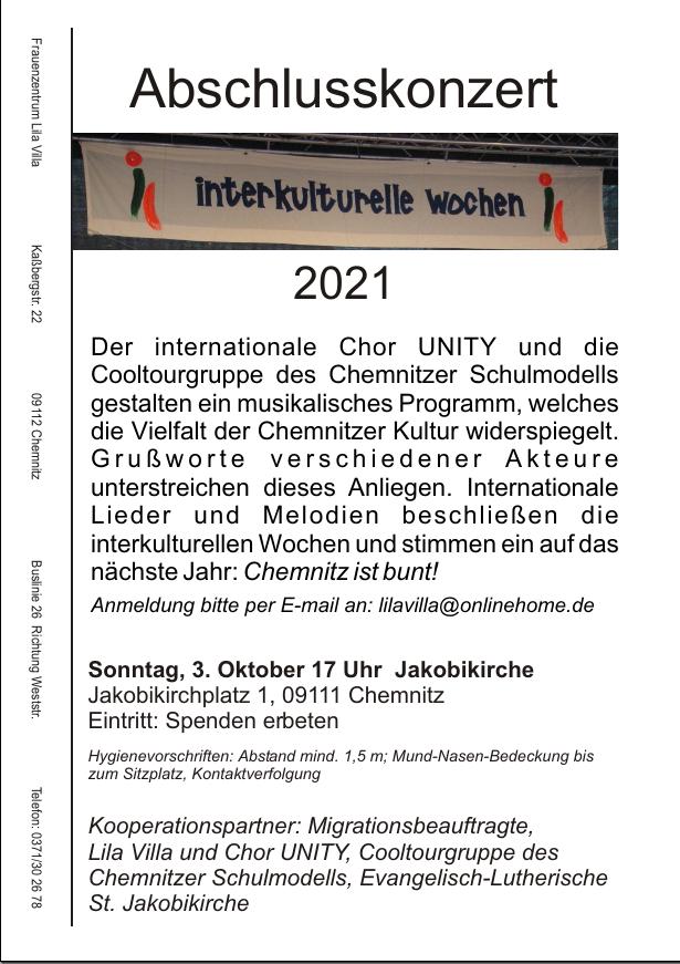Flyer Abschlusskonzert INterkulturelle Wochen Konzert 3.10.2021 17 Uhr Jakobikirche Chemnitz: INternationaler Chor UNITY und die Cooltourgruppe des Chemnitzer Schulmodells.